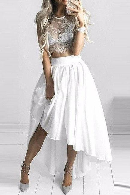white prom dress,two piece prom dress,front short long back prom gowns