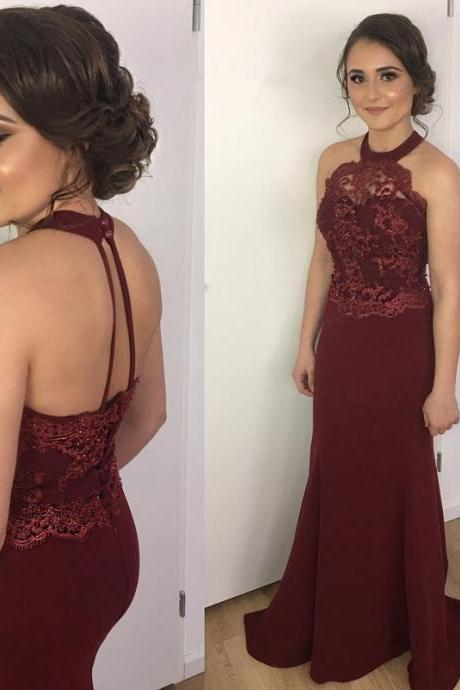 halter bridesmaid dress,mermaid prom dress,burgundy evening gowns,long formal dress