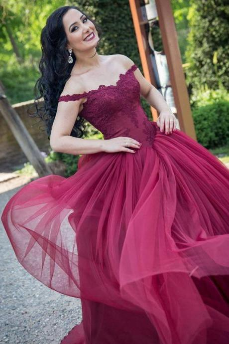 burgundy wedding dresses,lace appliques wedding dress,ball gowns party dresses,wedding gowns 2017