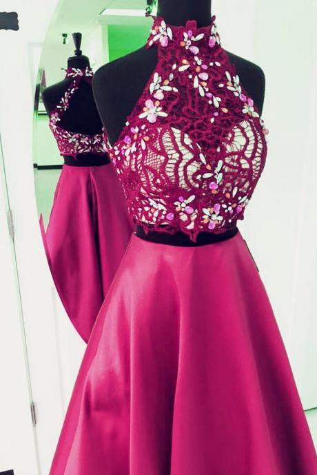 two piece prom dress,2 piece prom gowns,elegant beaded prom dress,prom dress lace crop