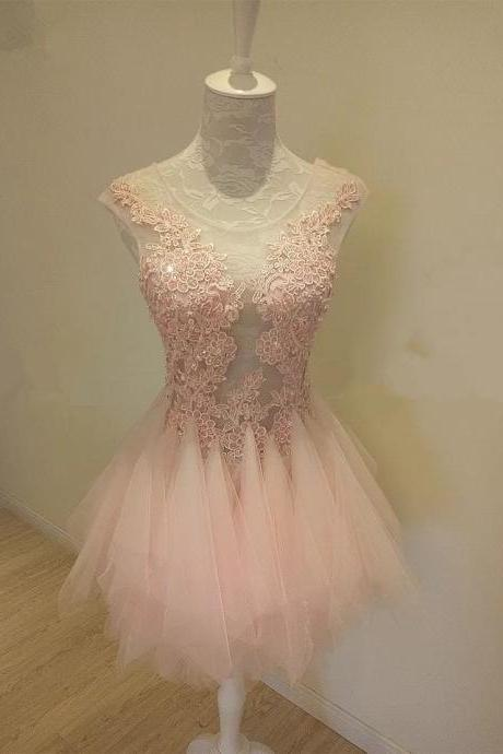 Pink Party Dress,Ruffles Dresses,Short Prom Dresses,See Through Dress,Elegant Homecoming Dresses