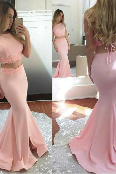 blush pink prom gowns,mermaid prom dress,two piece prom dress,long party dresses