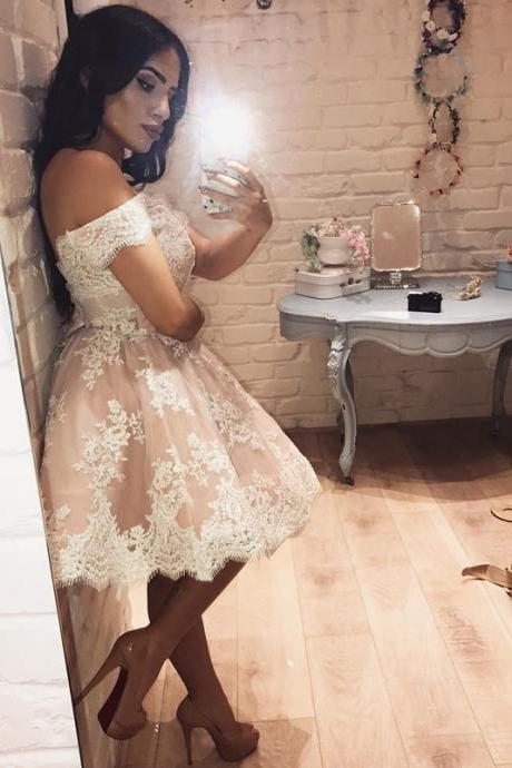 off shoulder party dress,pink homecoming dress,short prom dress lace appliques,elegant cocktail dresses