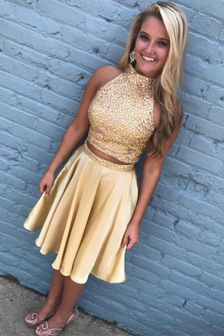 two piece homecoming dress,gold homecoming dress,short prom dresses 2017,beaded cocktail dress
