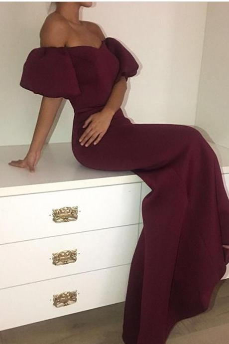 burgundy prom dress,mermaid prom dress,sexy prom dresses 2017,elegant evening gowns