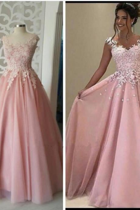 pink bridesmaid dress,tulle formal dress,elegant prom dress,lace appliques gowns,long prom gowns 2017