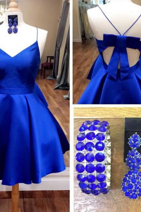 Royal Blue Homecoming Dress,Open Back Prom Dresses Short,Bow Dress,Short Cocktail Dresses