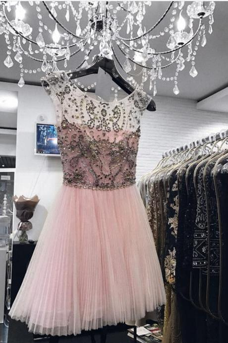 Pink Homecoming Dress,Prom Short Dresses Crystal Beaded,Cap Sleeves Homecoming Dress,Short Prom Gowns 2017