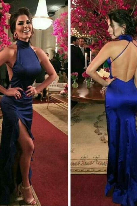 royal blue mermaid dress,backless prom dress,sexy long evening gowns,mermaid prom dresses