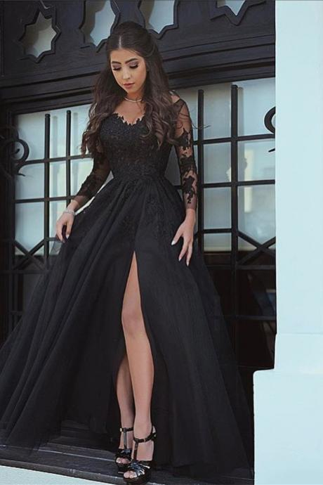 long sleeves evening gowns,black prom dress,lace appliques evening gowns,prom dresses 2017 sexy