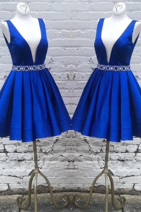 royal blue homecoming dress, v neck prom gowns,short homecoming dress beaded sashes