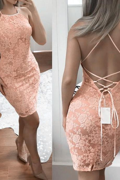 short lace prom dress,elegant homecoming dress,sheath cocktail dress,lace bridesmaid dresses