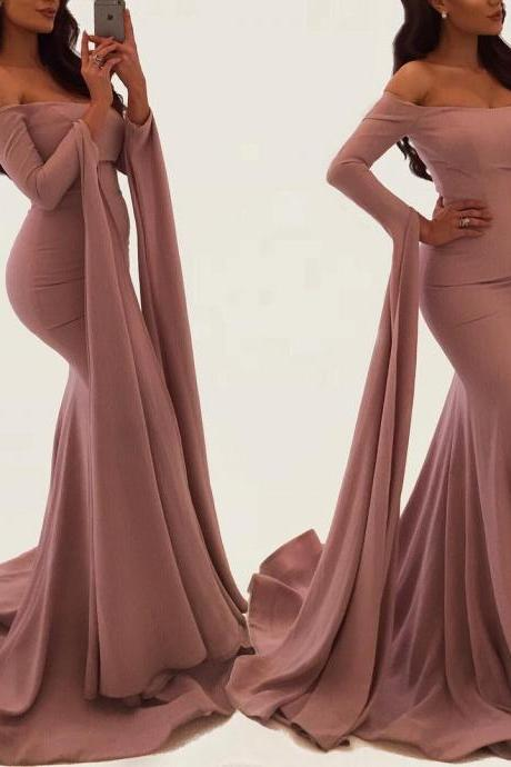 Long Sleeves Evening Gowns,Off Shoulder Prom Dress,Mermaid Prom Dress,Mermaid Evening Dress