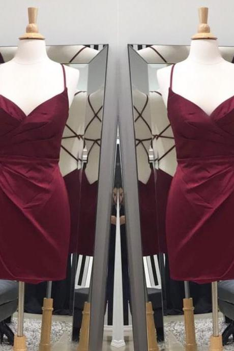 Sheath Homecoming Dress,Burgundy Homecoming Dress,Cross Back Prom Short Dresses