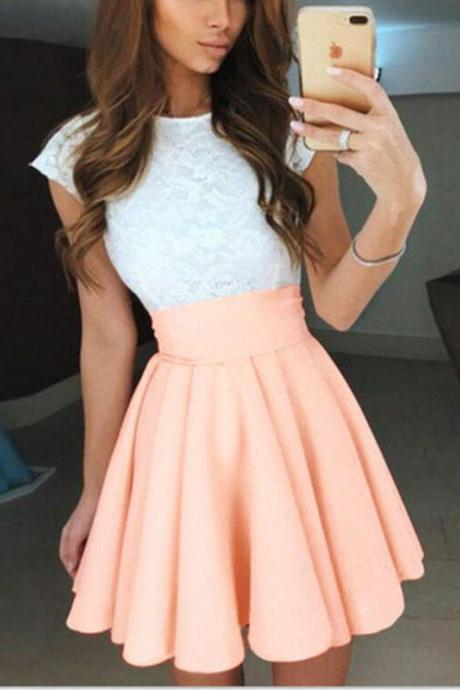 coral homecoming dress,White lace homecoming dress,cap sleeves cocktail dress,elegant prom gowns