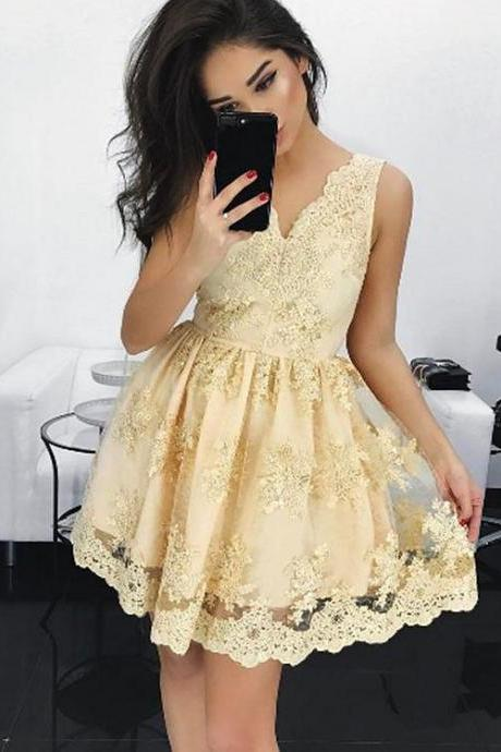 champagne homecoming dress,lace homecoming dresses,short prom dresses 2017,elegant prom dresses