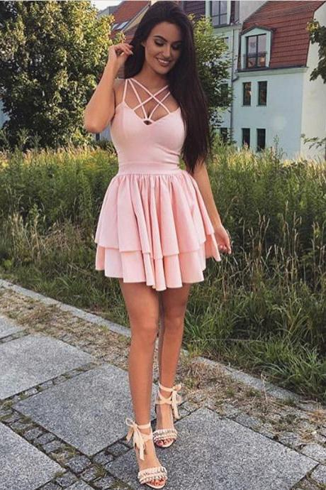 short pink homecoming dress,halter cocktail dress,satin prom short dresses
