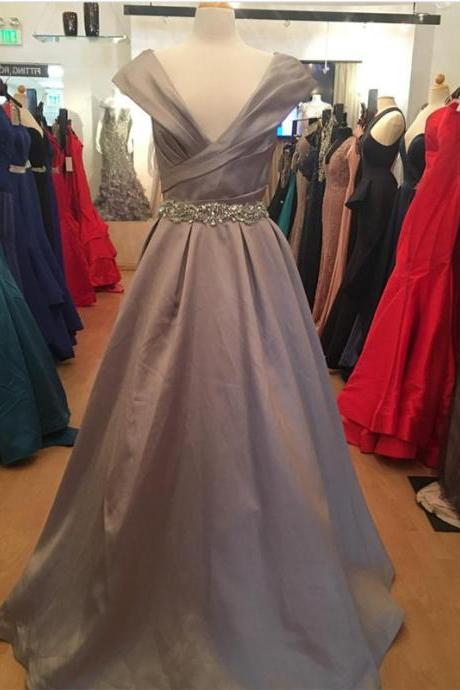 Cap Sleeve Evening Gowns,V Neck Prom Dress,Long Ball Gowns,Prom Dresses 2018