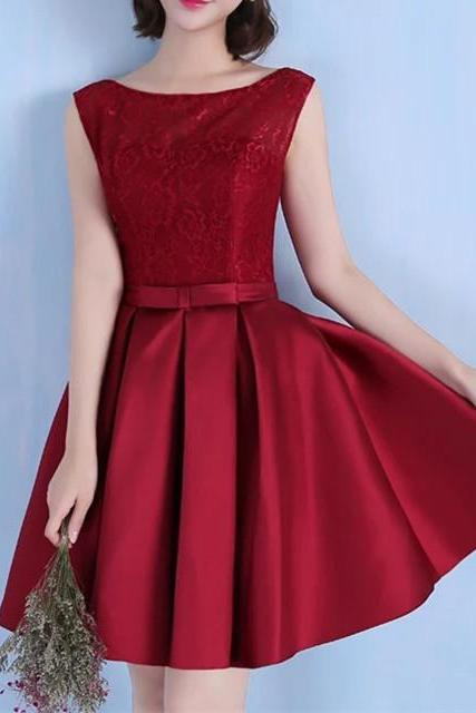 burgundy lace cap sleeves open back homecoming dresses short satin cocktail dress