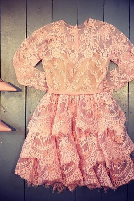 lace homecoming dress,long sleeves homecoming dress,pink prom short dresses