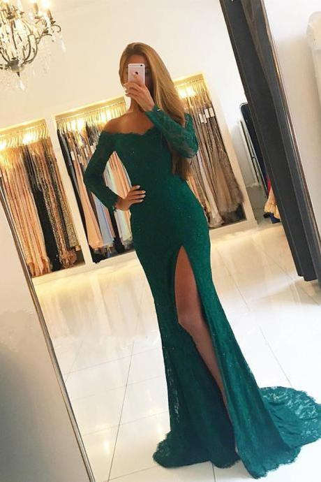 emerald green prom dress,lace evening gowns,long sleeves prom dresses,off the shoulder evening gowns