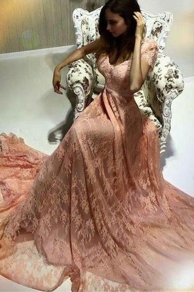 peach lace prom dress,elegant prom dresses,cap sleeves prom dress,long evening gowns