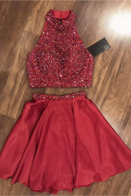 high neck homecoming dress,two piece prom dresses,short prom dress crystal beaded