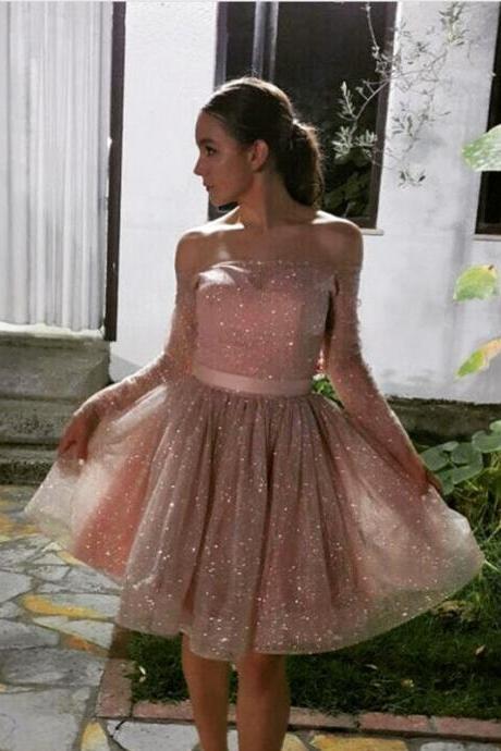off the shoulder homecoming dress,long sleeves homecoming dress,nude pink prom short dress,sequin gowns