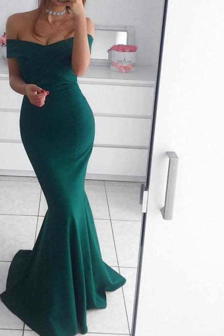 hunter green prom dress,mermaid prom dress,off the shoulder evening gowns