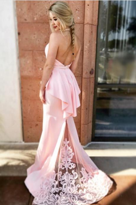blush pink prom dress,halter prom gowns,backless mermaid evening dress,lace appliques formal dress