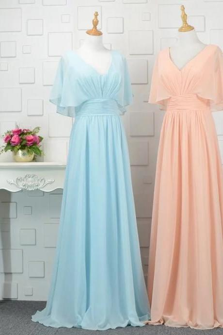 modest bridesmaid dresses with sleeves,chiffon bridesmaid dress,floor length evening gowns