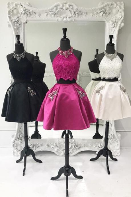 halter homecoming dress,two piece homecoming dress,2 piece prom short dresses,elegant cocktail dress