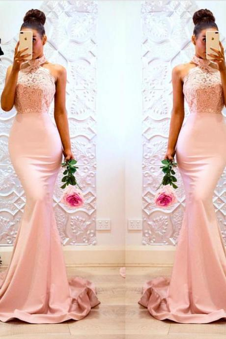 halter prom dress,blush pink mermaid dress,long bridesmaid dress,elegant evening gowns