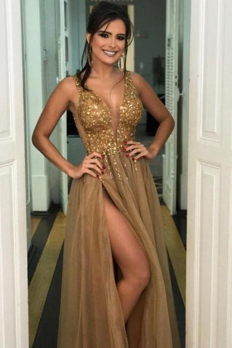 gold prom dress,crystal beaded evening gowns,tulle prom dress,slit prom dress