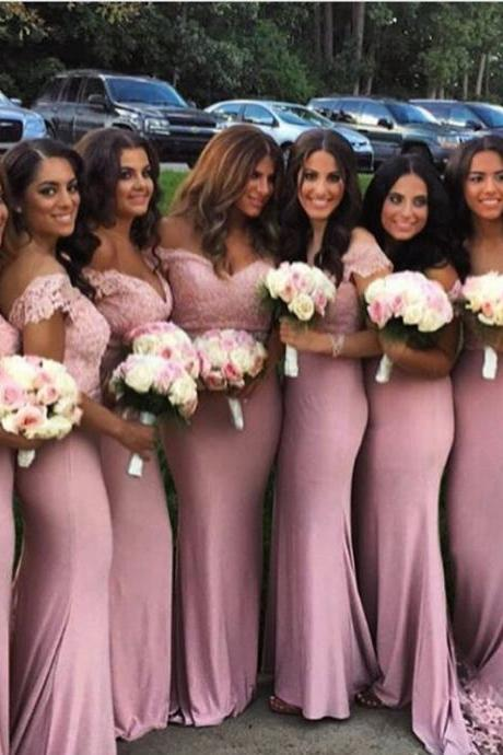 pink bridesmaid dress,mermaid bridesmaid dress,off the shoulder bridesmaid dress,elegant evening gowns