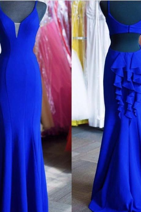 royal blue mermaid bridesmaid dress long jersey ruffle back evening gowns for wedding party