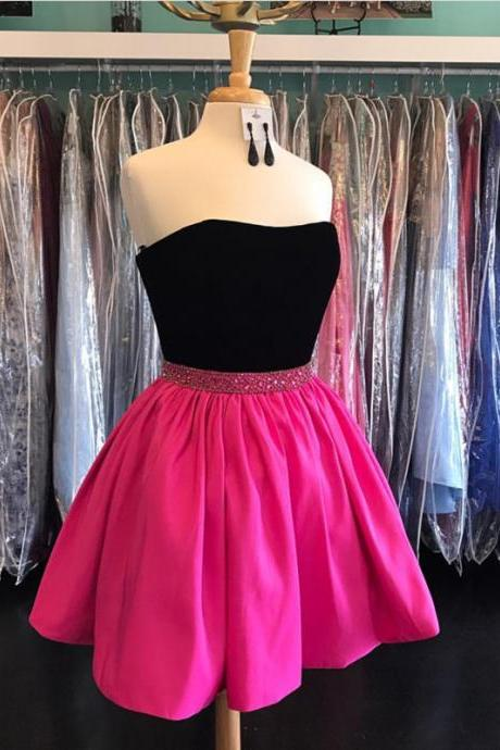 strapless homecoming dress,short prom dress,semi formal dress,short cocktail dress