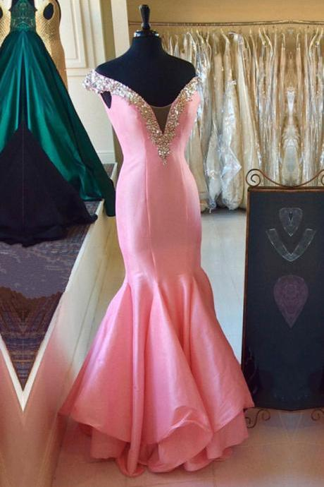 Pink Off-the-Shoulder Plunging V Mermaid Long Prom Dress, Evening Dress