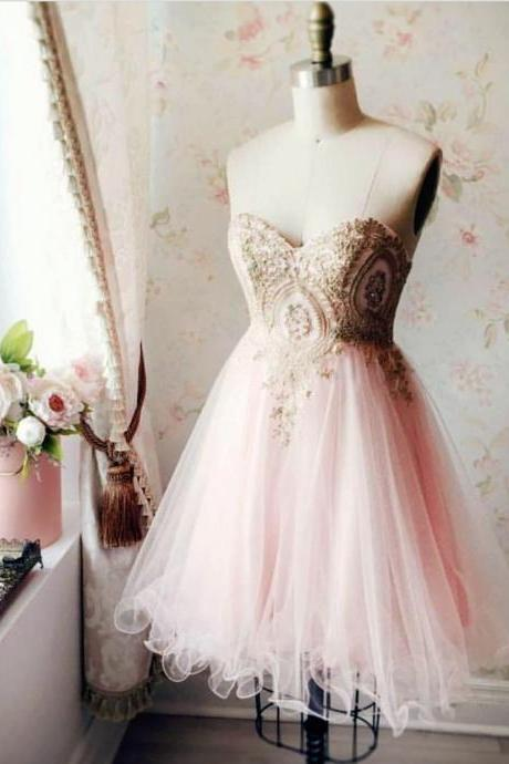 pink homecoming dress,sweetheart homecoming dress,short prom dress,lace applique cocktail dress
