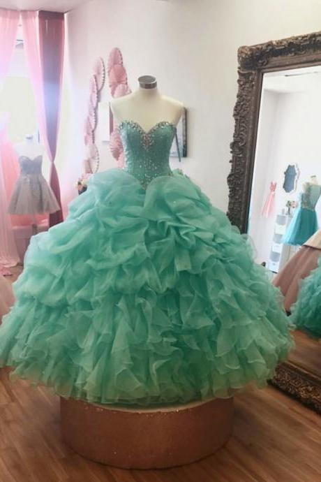 Mint Green Quinceanera Dress,Ball Gowns Quinceanera Dress,Sweet 16 Dress,Crystal Beaded Ball Gowns