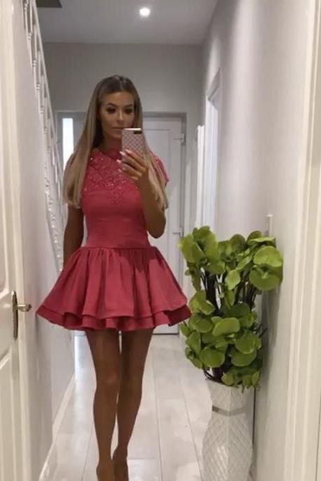 rose pink homecoming dress,ruffle homecoming dress,cap sleeves prom dress,short prom dresses
