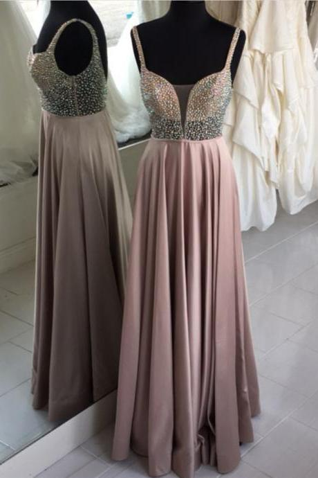 Spaghetti Strap Plunge V A-line Floor-Length Chiffon Prom Dress, Evening Dress with Beaded Bodice