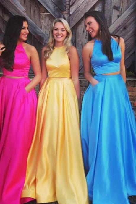 two piece prom dress,satin prom dress,2 piece prom dress,halter prom gowns,satin evening gowns