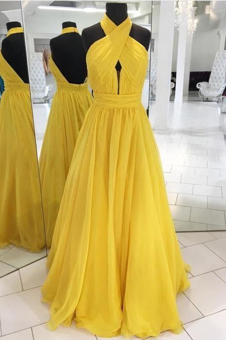 halter prom dress,chiffon prom long dress,open back evening gowns,floor length evening dress