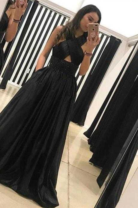 black evening gowns,halter prom dress,long prom gowns,long evening dresses,sexy prom dresses