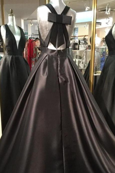 satin ball gowns,black prom dress,open back prom dress,prom dresses 2018,sexy prom dress