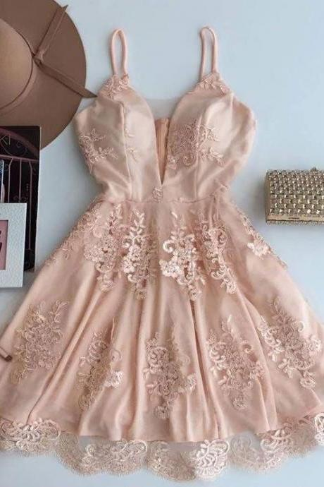 nude pink homecoming dress,short prom dress,v-neck cocktail dress,semi formal dresses