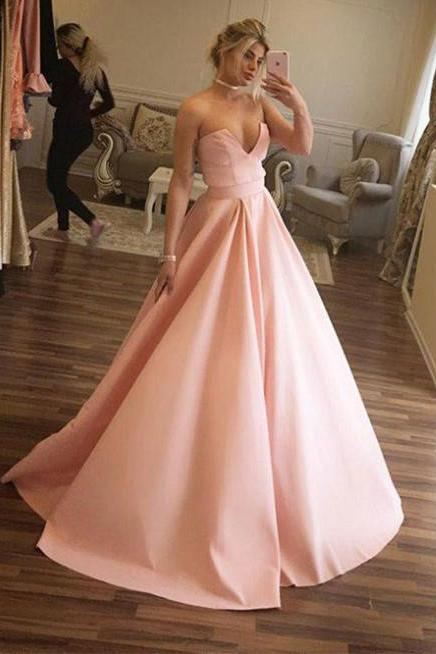 Blush Pink Ball Gowns,Strapless Prom Dress,Satin Ball Gowns,Long Formal Dresses