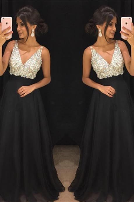 Black Prom Dress,Chiffon Prom Dress,V-neck Evening Gowns,Long Formal Dress