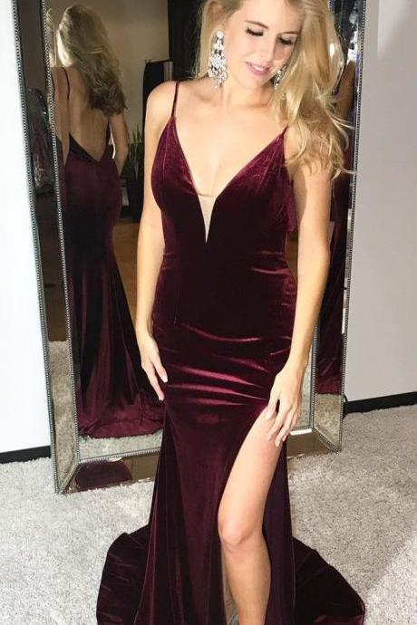 velvet prom dress,mermaid evening dress,mermaid prom dress,slit prom dress,mermaid prom gowns